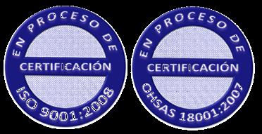 Estamos en Proceso de Certificación ISO 9001 y OHSAS 18001.