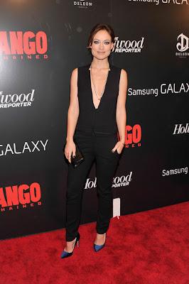 Olivia Wilde Django Unchained Screening Black Dress Cleavage