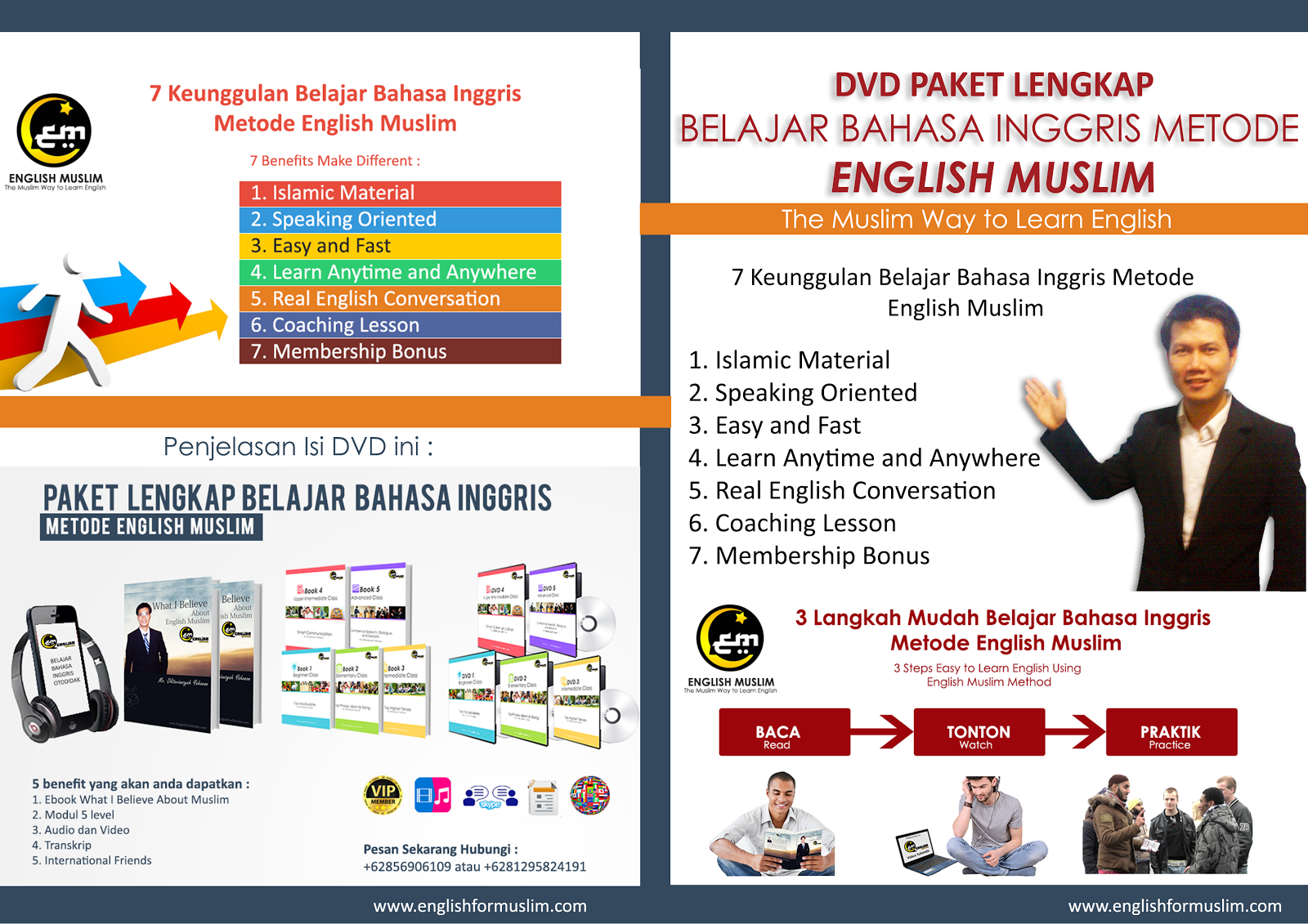 PAKET LENGKAP BUKU&DVD  BELAJAR BAHASA INGGRIS UNTUK MUSLIM