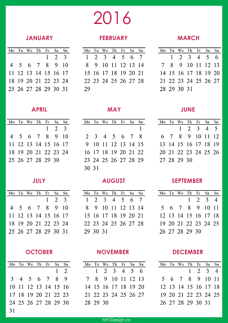 ... , New York, NY: 2016 Calendar - Printable - Free - Green, Red, White