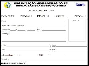 FICHA DE INSCRIÇÃO E RECADASTRAMENTO 2012.