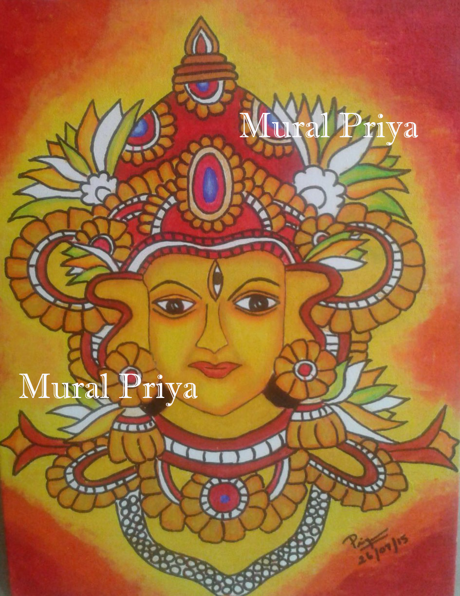 My kerala mural painting experiments mural shiva on canvas for Canvas mural painting