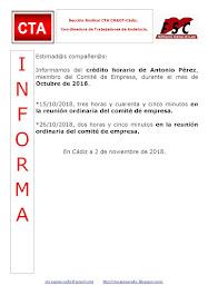 C.T.A. INFORMA CRÉDITO HORARIO ANTONIO PÉREZ, OCTUBRE 2018