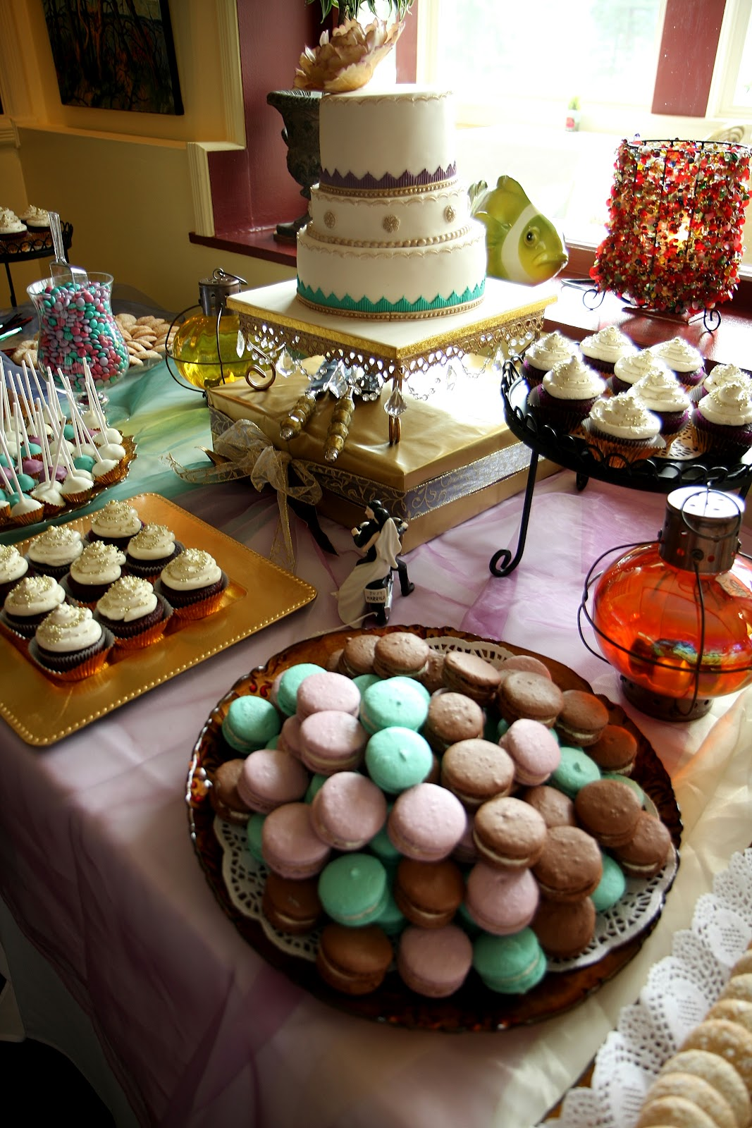 Moroccan Inspired Wedding Cake And Dessert Buffet Table