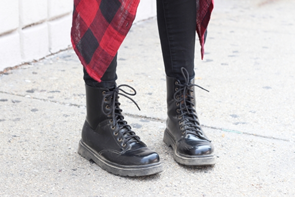 combat boots red plaid flannel shirt
