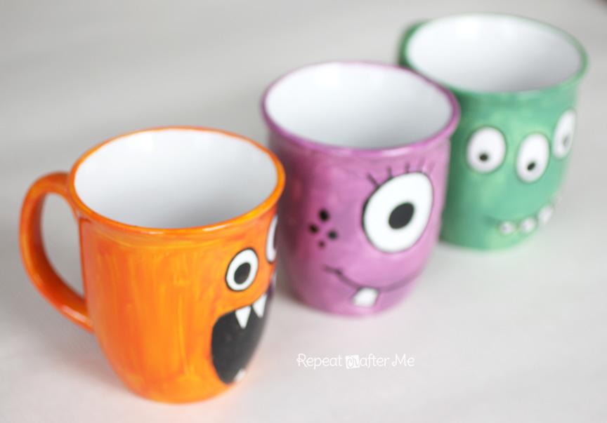 Repeat crafter me diy monster mugs for Mug painting designs