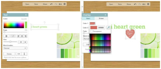 Use PicMonkey color dropper to change colors of fonts and shapes.