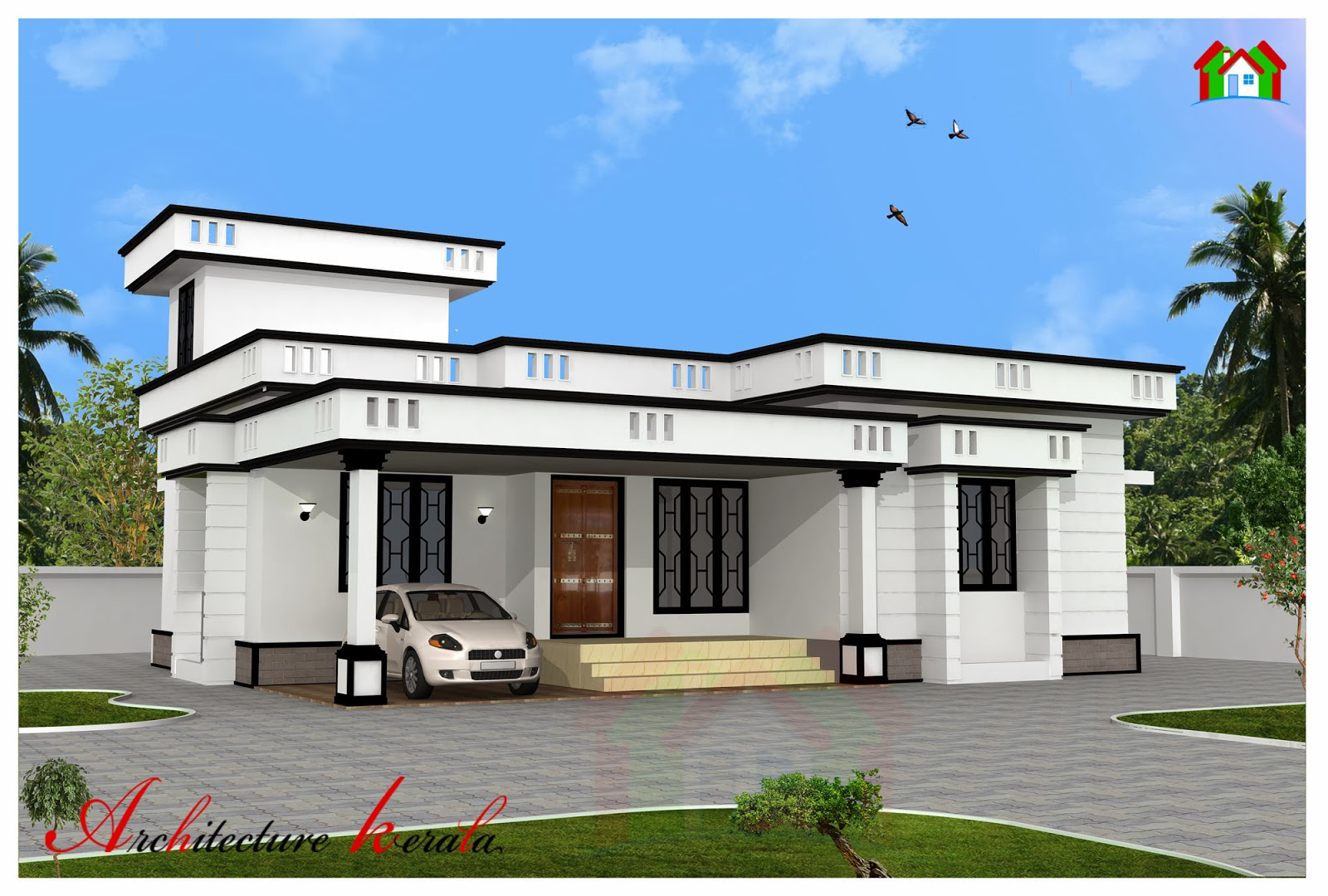 1200 square feet two bedroom house plan and elevation for Elevation of kerala homes