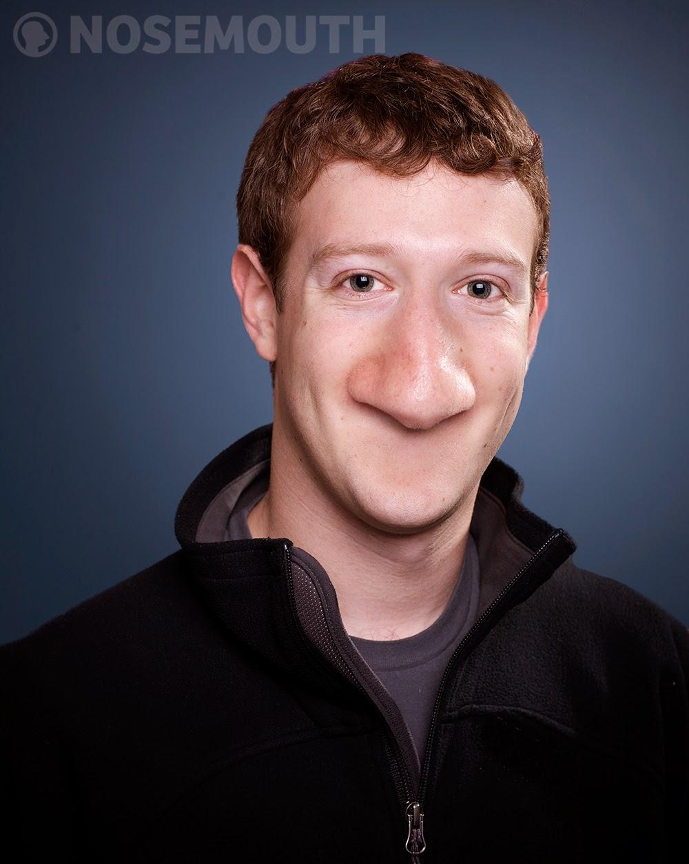 مارك زوكربيرج بأنف كبير وبدون فم