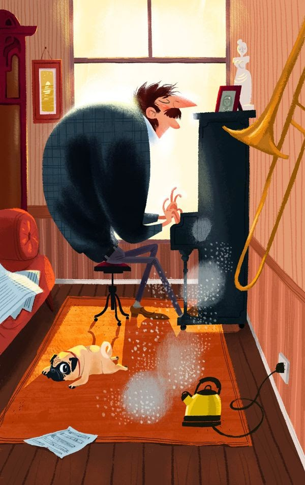 a pianist playing away whilst his pug is sleeping illustration by Olga Demidova