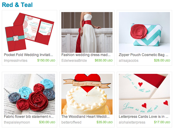 Etsy Weddings email featured lovely items in beautiful color combinations