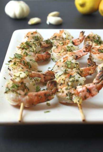 Lemon Garlic Shrimp Skewers