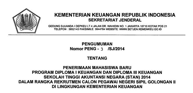 Pendaftaran STAN Tahun 2014
