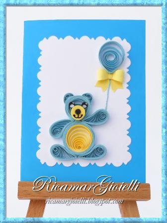 Quilling card con orso e palloncino