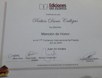 """Mención de honor en el 17 certamen internacional de poesía por la obra """"Juan no miraba"""" 2018"""