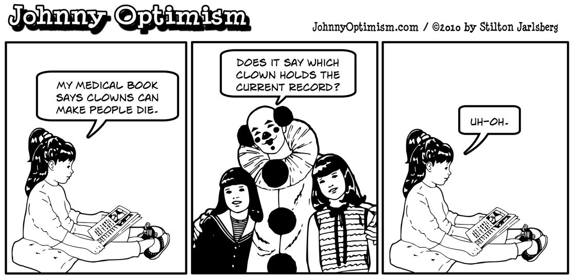 Johnny Optimism, johnnyoptimism, medical humor, scary clown, tickles the clown, medical book
