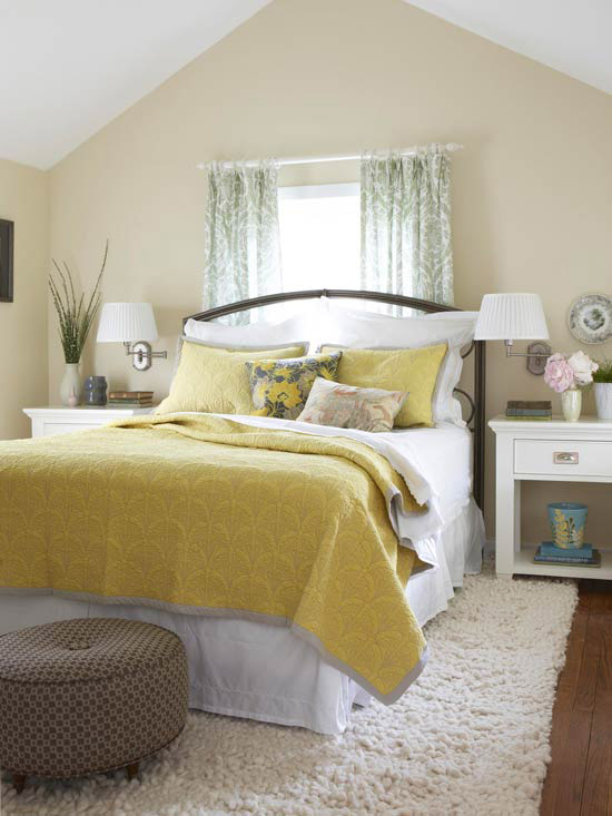2014 bedroom decorating ideas with yellow color modern for Yellow grey bedroom designs