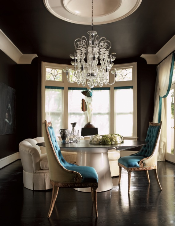 Turquoise Black and White Dining Room