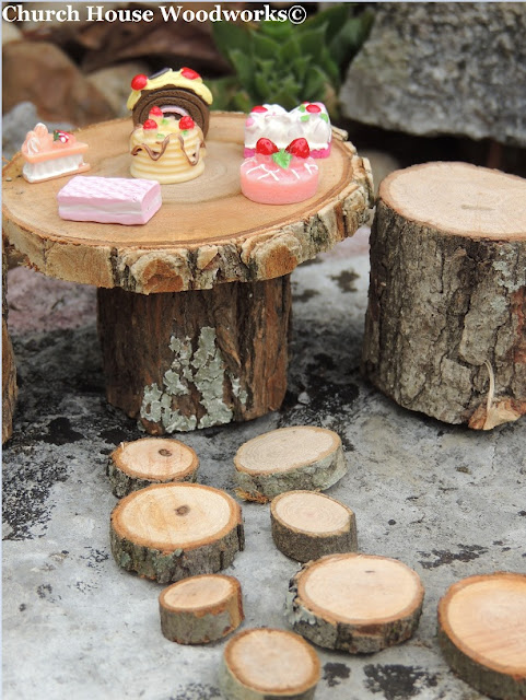 Garden Wood Slice Table And Chairs With Stepping Stones Kit, Wood Slice Stepping Stones, Miniatures Doll House Table Chairs, Tiny Wood Table, Garden Path Woodland Rustic Decorations,