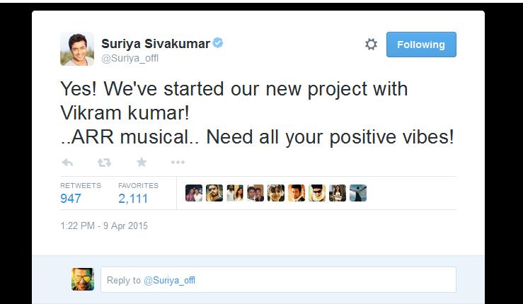 24-Movie-Starts]-shooting-Surya-Tweet-images