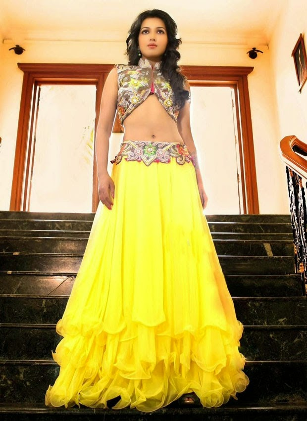 Actress Catherine Tresa Gorgeous In Yellow Lehenga
