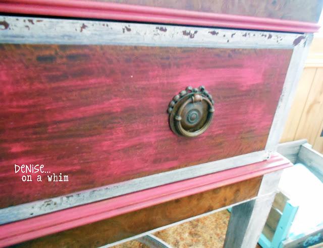 Chippy Milk Paint Trim on Antique Stand Drawer via http://deniseonawhim.blogspot.com