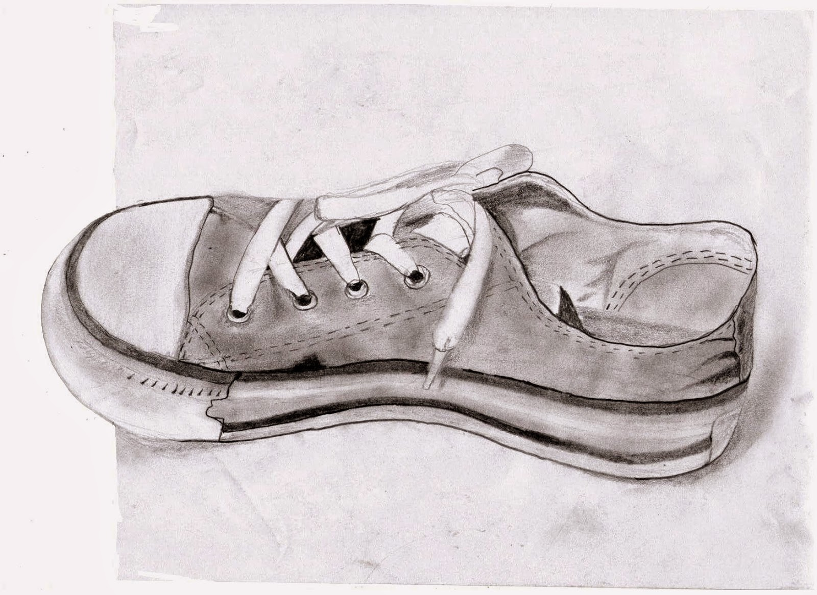 My first sketch in year 2015 pencil sketch 3d shoes