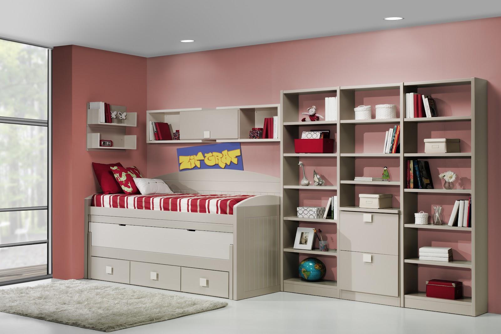 Dormitorio lacado color arena con cama compacto y estanteria - Habitaciones blancas juveniles ...