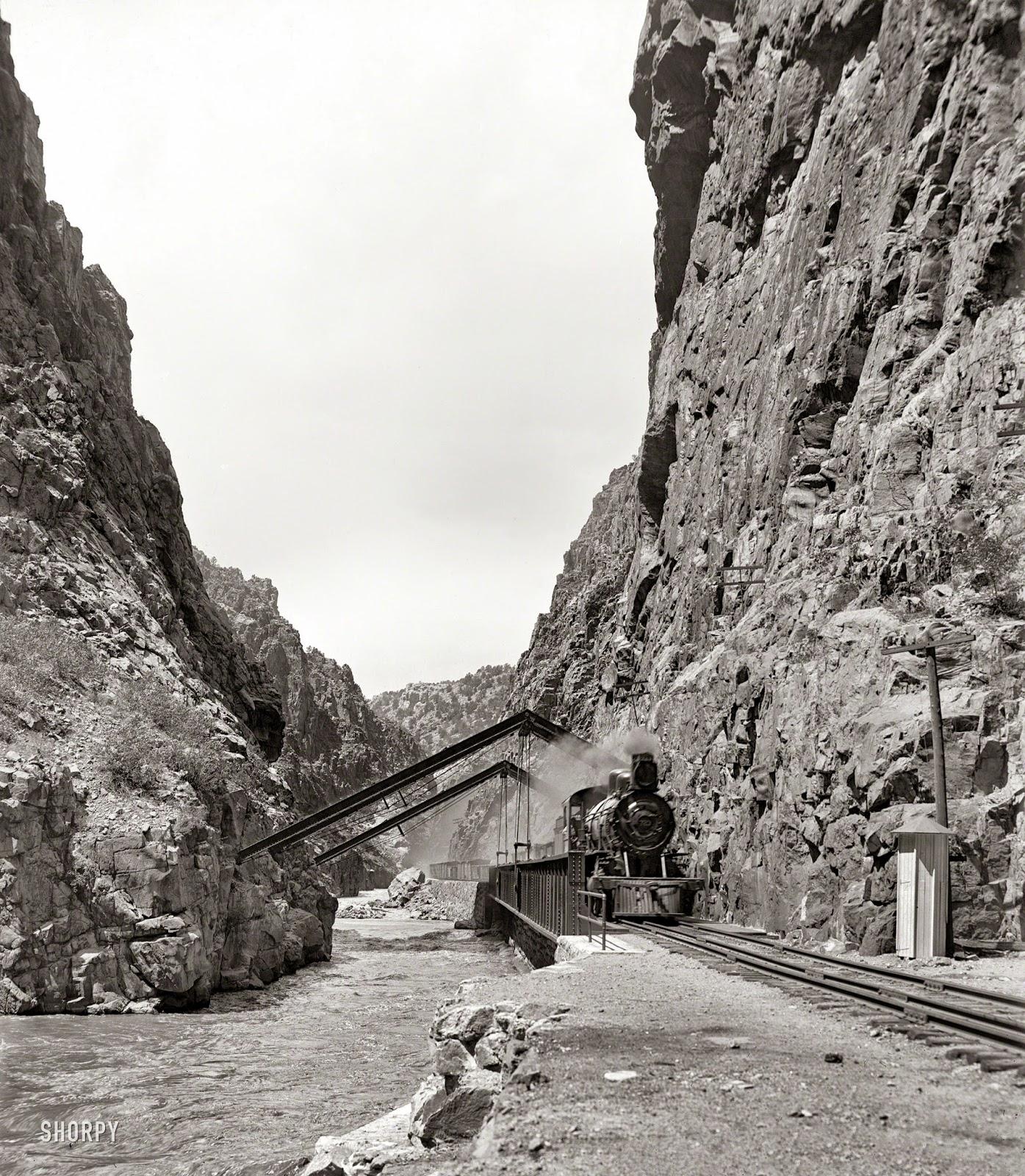 Colorado Circa 1900. In The Royal Gorge, Arkansas River