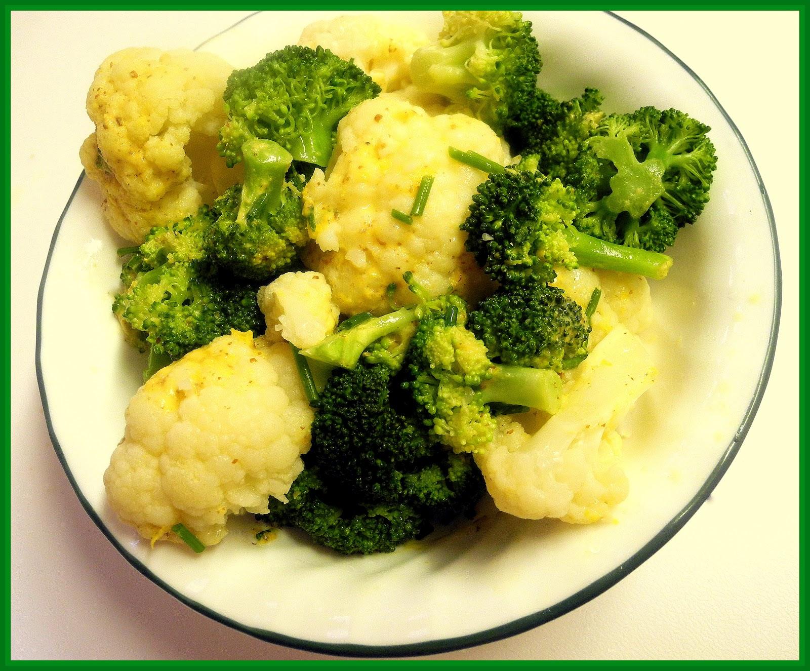 Lemon-Mustard Broccoli and Cauliflower