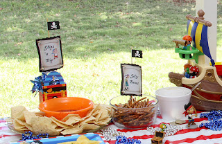 Pirate party food labels: Ship n Dip, Salty Bones