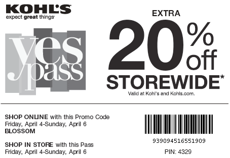 New Kohls YesPass Coupon April 2014