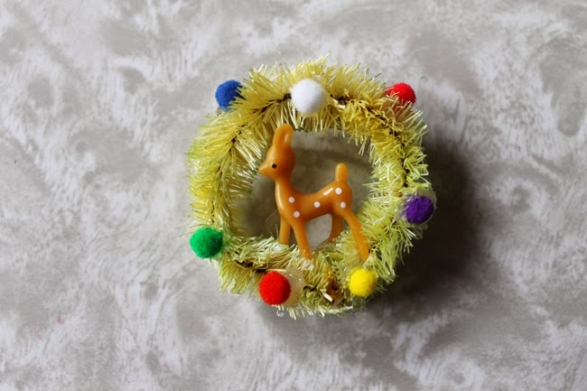bottle brush novelty christmas brooches with miniature deer and pom poms from Wacky Tuna Vintage via Va Voom Vintage