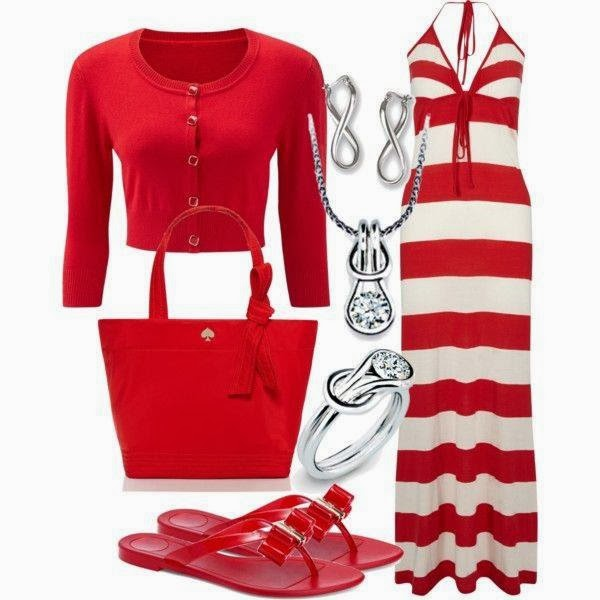 Red And White Ladies Outfit Set: