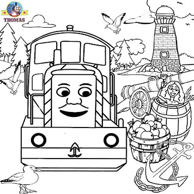 Day of the Diesels Salty and Thomas the train coloring pages for boys printable worksheets to color