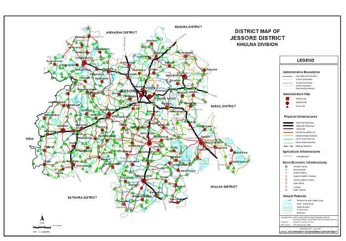 Maps of Bangladesh Jessore District