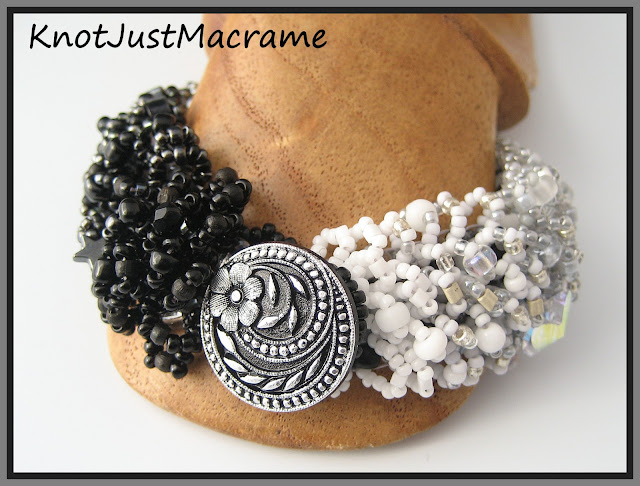 Ombre bead weaving bracelet by Sherri Stokey black white and gray