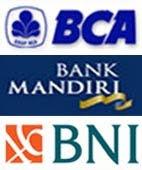 Pembayaran Melalui Rekening BCA / Mandiri / BNI
