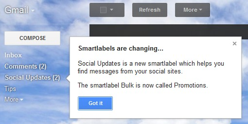 Gmail Smart Label Social Updates