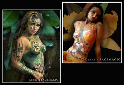 Body painted swimsuit with tropical flowers and lacework. Body art of warrior with painted bracelet and suit in shades of green