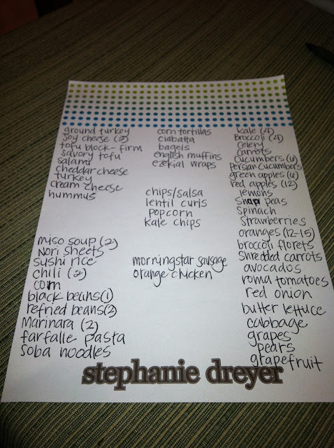 VeegMama's grocery list for the week at Trader Joe's