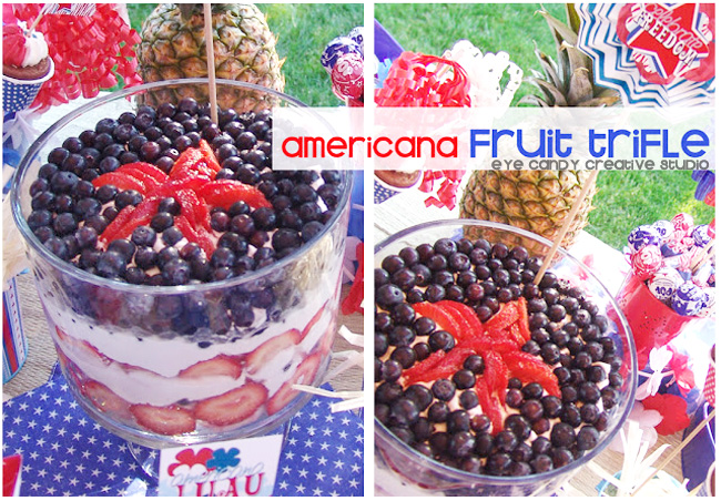 patriotic table, recipe for fruit trifle, red white & blue, memorial day, labor day, picnic