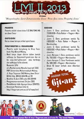 Info Lomba Menulis Kreatif (LMI) II 2013