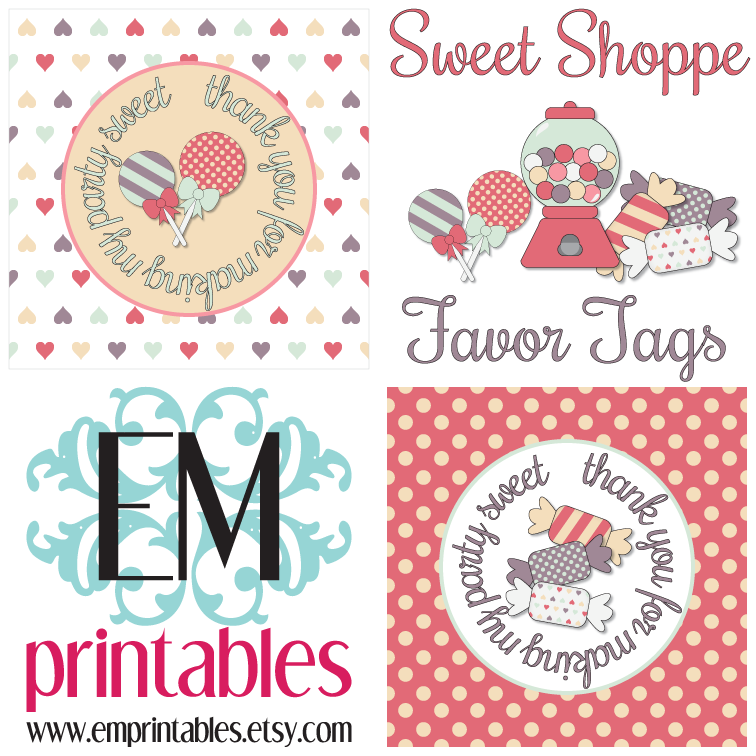 EMPrintables Elated Memories Sweet Shoppe Printable Birthday Party Favor Tags Etsy Digital Designers Team Valentine's Day Hop