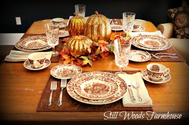 I also love this old table. It has the scars of a well lived life and reminds me so much of my sweet grandmother who loved it as much as I do. & Still Woods Farmhouse: Thanksgiving Dinnerware to Grace Any Table