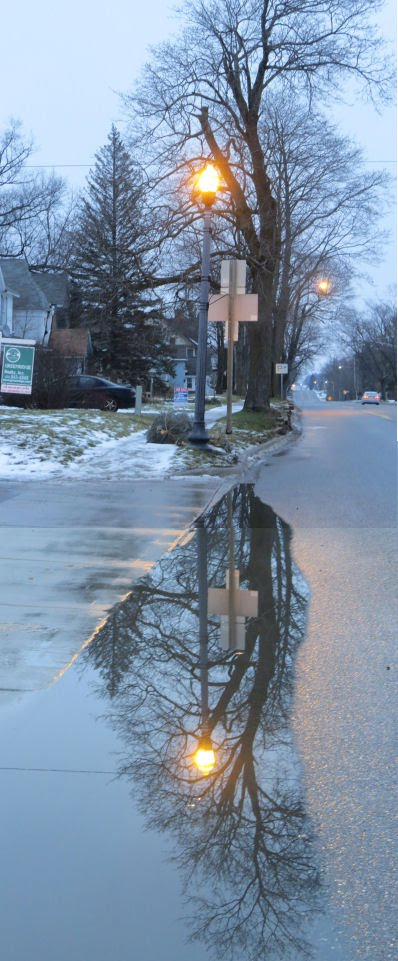reflected streetlight