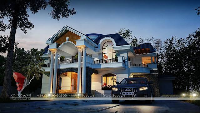 bungalow house modern designs Karnataka