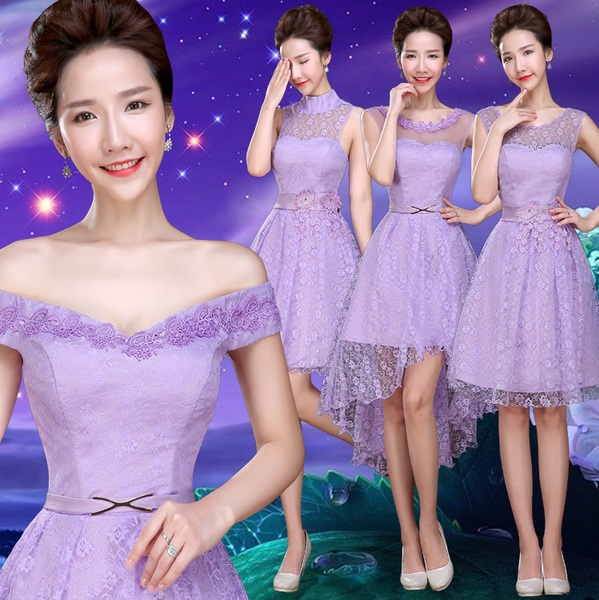 4-Design Full Soft Lace Light Lavender Bridesmaids Dress