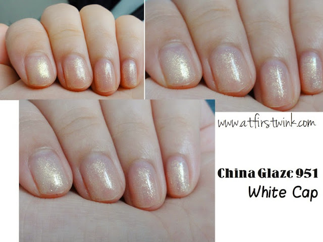 swatches of the China Glaze nail polish 951 White Cap