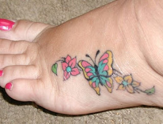 Feminine Tattoos - Butterfly with Flowers Tattoo Design on Feet